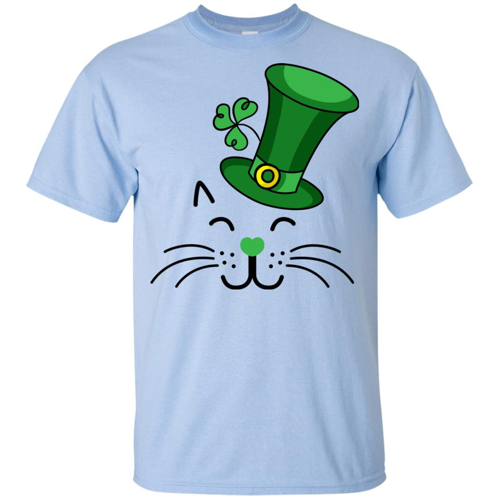 Funny Cat Tee Shirt White Lucky For St. Patrick's Day Gift