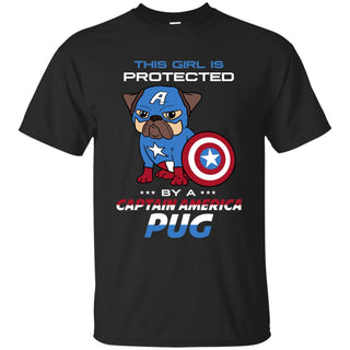 This Girl Is Protected By Captain America Pug Tshirt For Lover