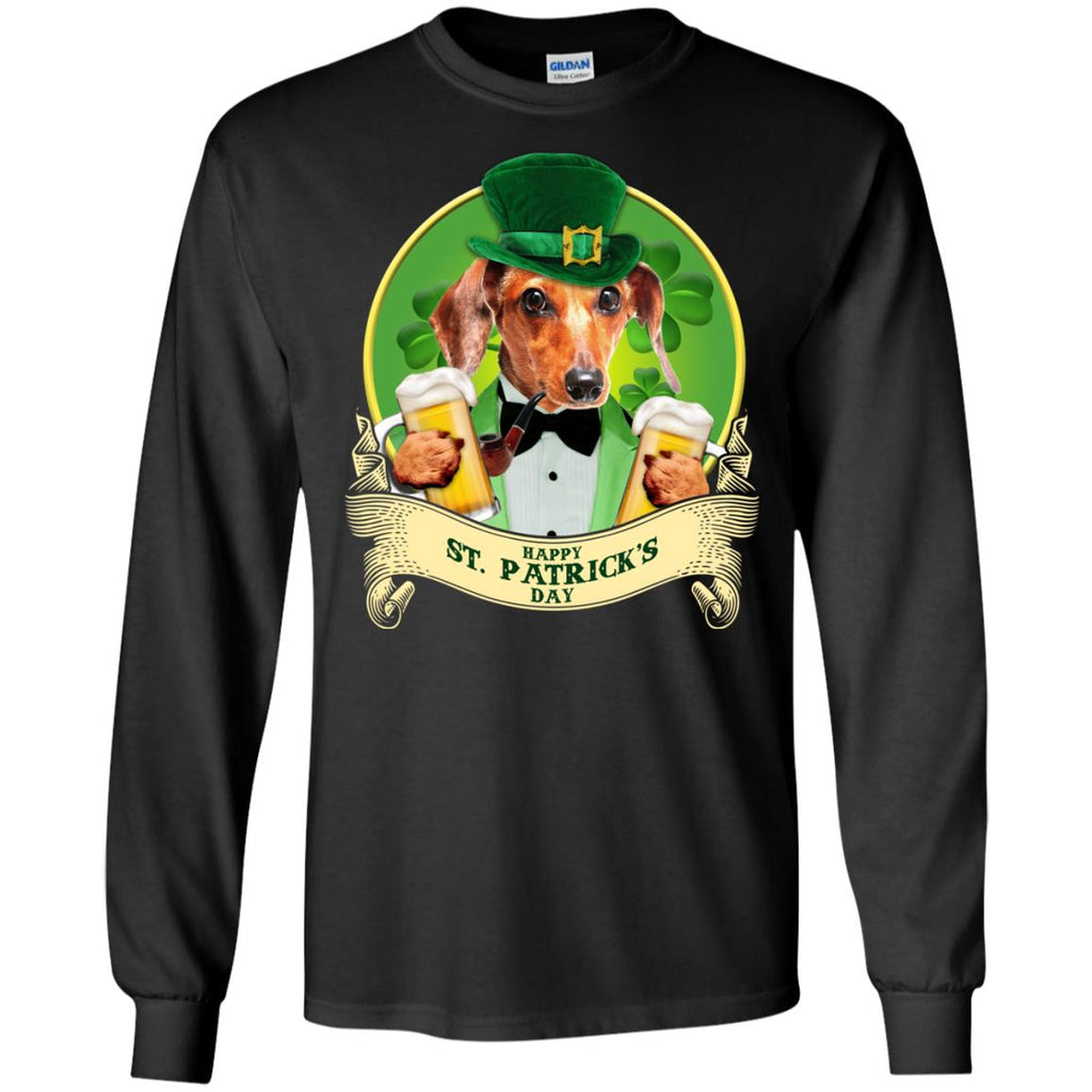 Funny Dachshund Dog T Shirt Happy St Patrick's Day Doxie Gift