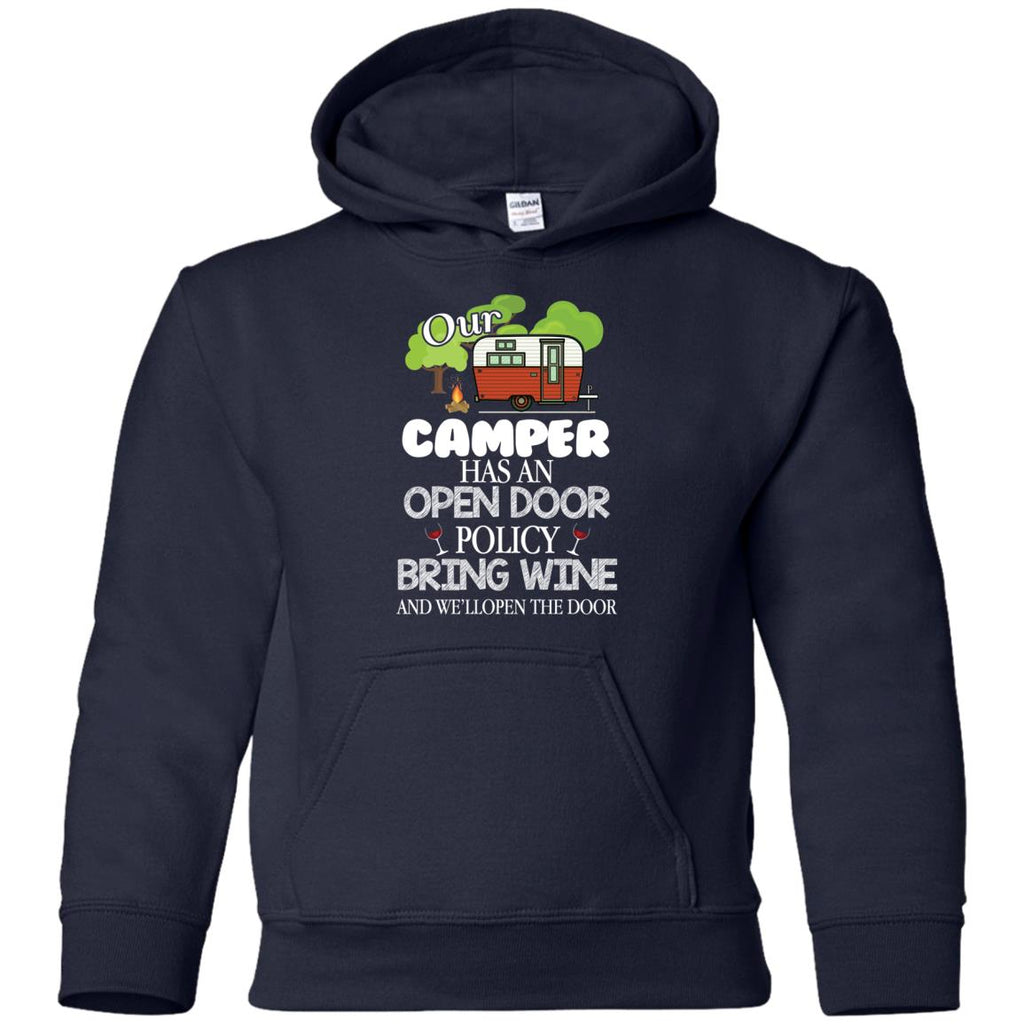 Our Camper Has An Open Door Policy T Shirt For Camping Tshirt
