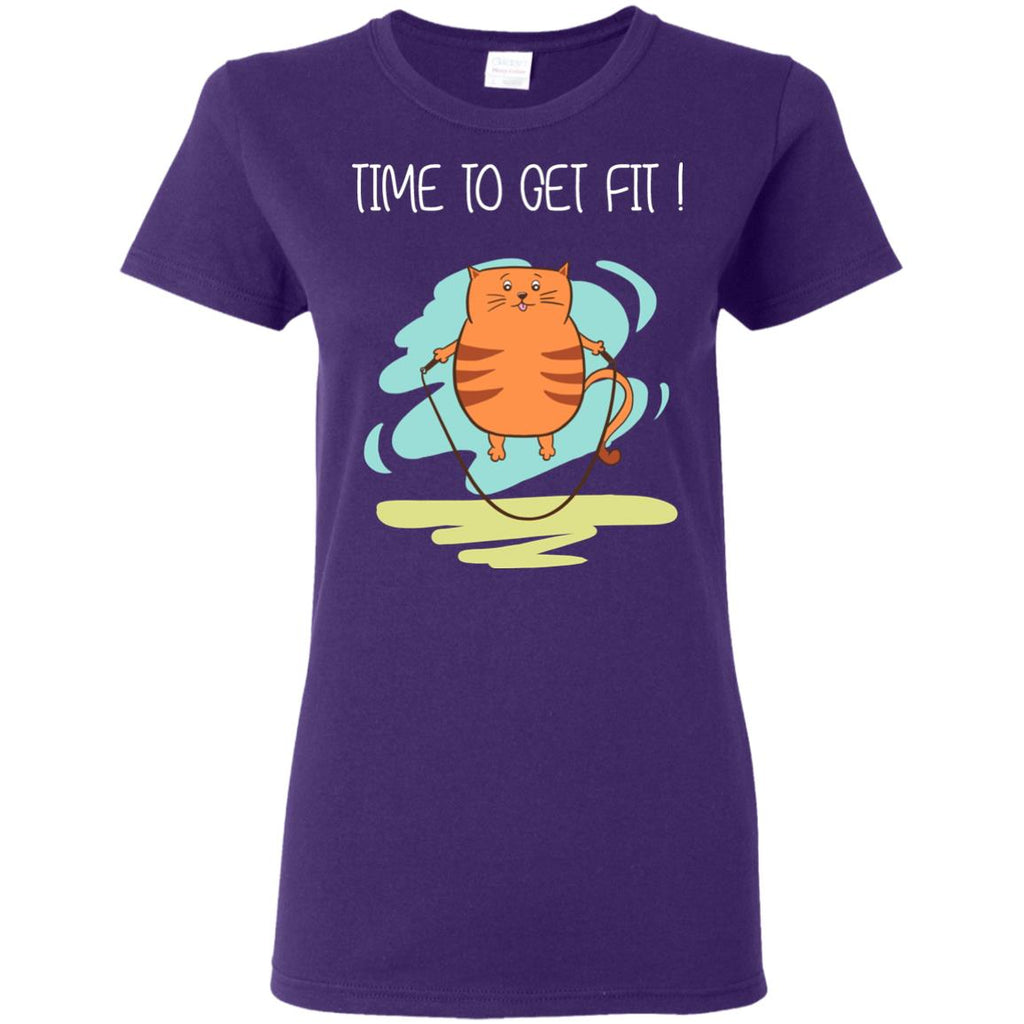 Time To Get Fit Cat Tshirt For Kitten Lover