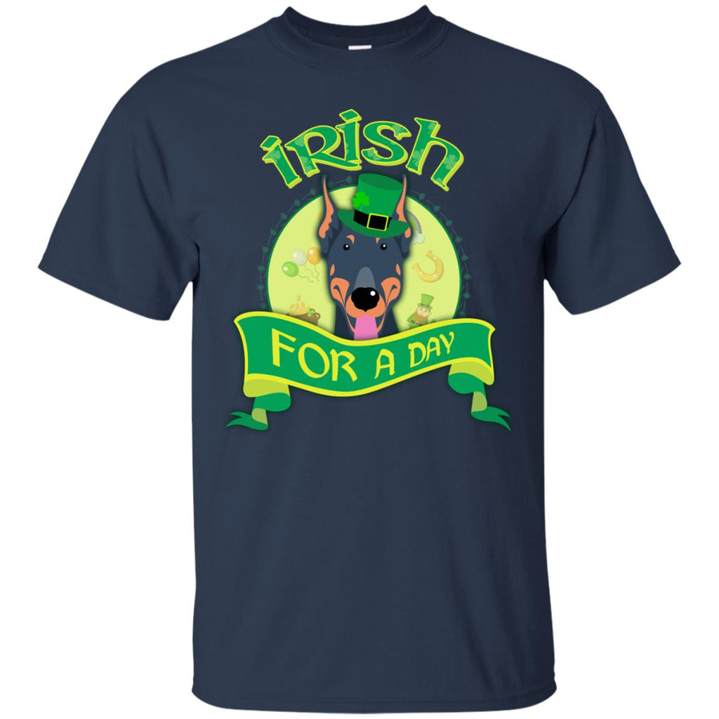 Funny Dobermann Dog Shirt Irish For A Day St. Patrick's Day Gift