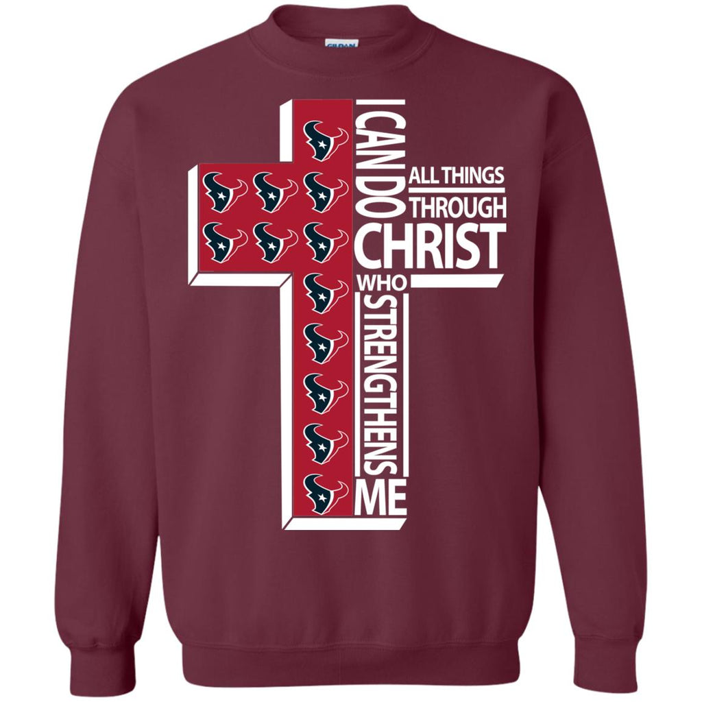 Gorgeous I Can Do All Things Through Christ Houston Texans Tshirt