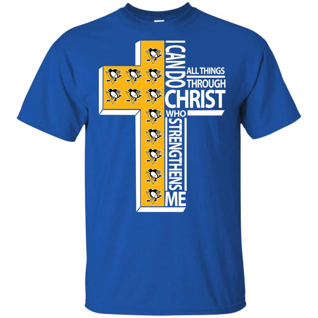 Gorgeous I Can Do All Things Through Christ Pittsburgh Penguins T Shirts