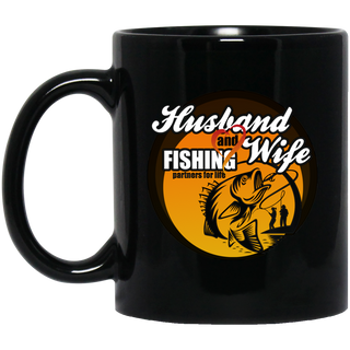 Husband And Wife Fishing Partners For Life Black Mugs