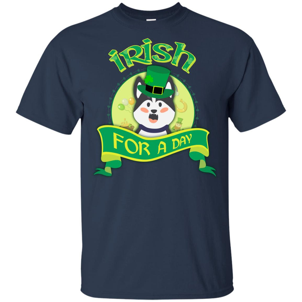 Funny Husky Tee Shirt Irish For A Day Siberian Dog St. Patrick's Day Gift