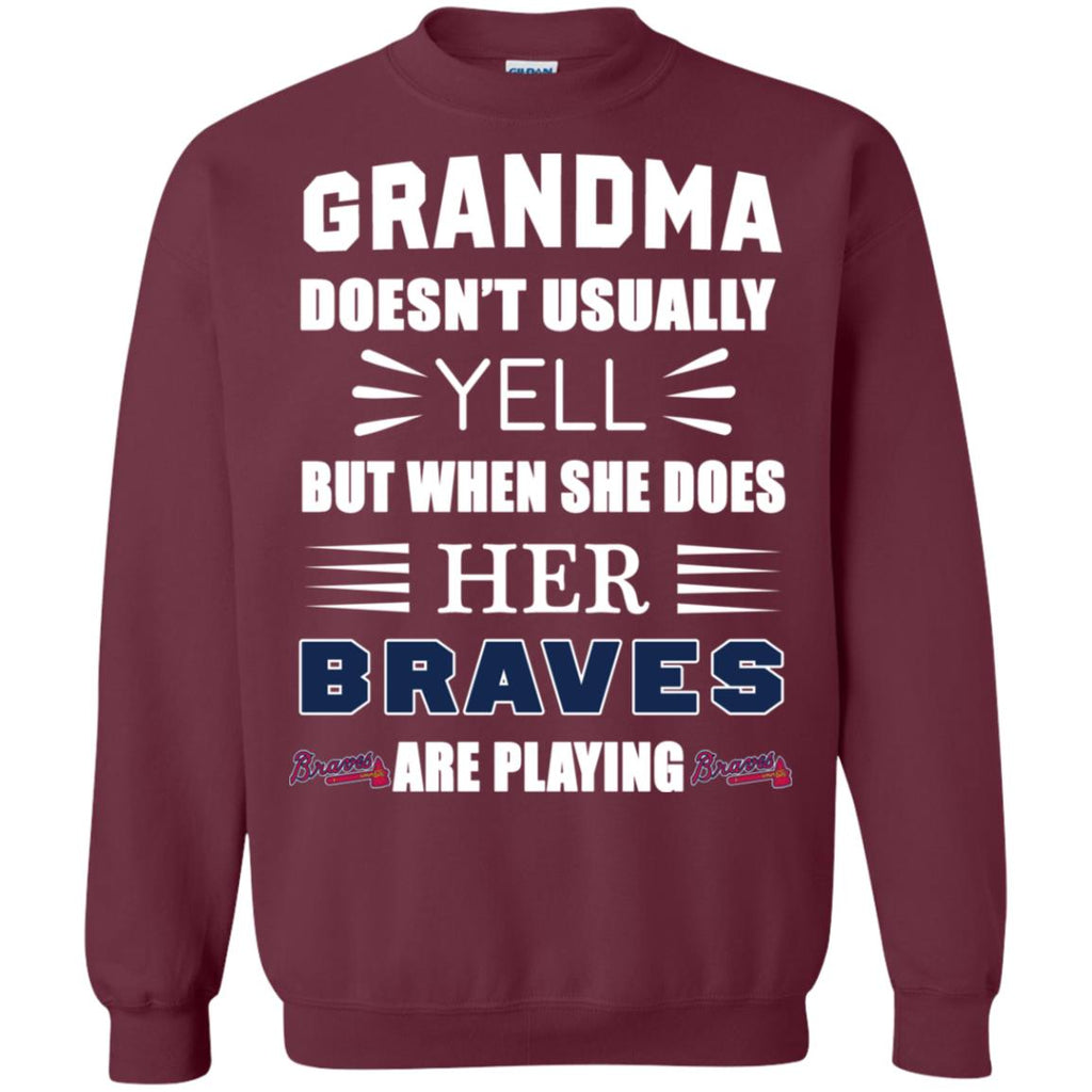 Cool Grandma Doesn't Usually Yell She Does Her Atlanta Braves T Shirts