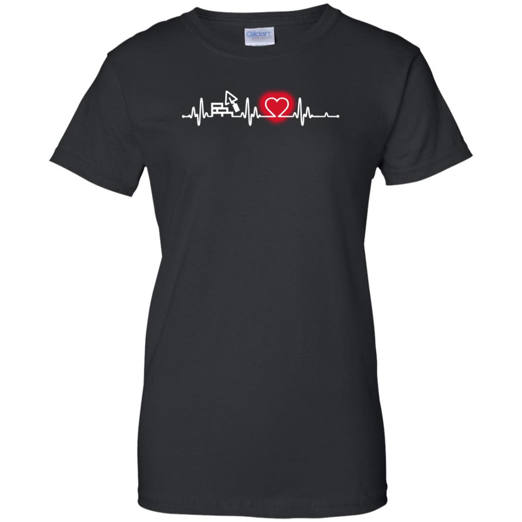 Heart Beat Red Construction Worker Tshirt for Lover