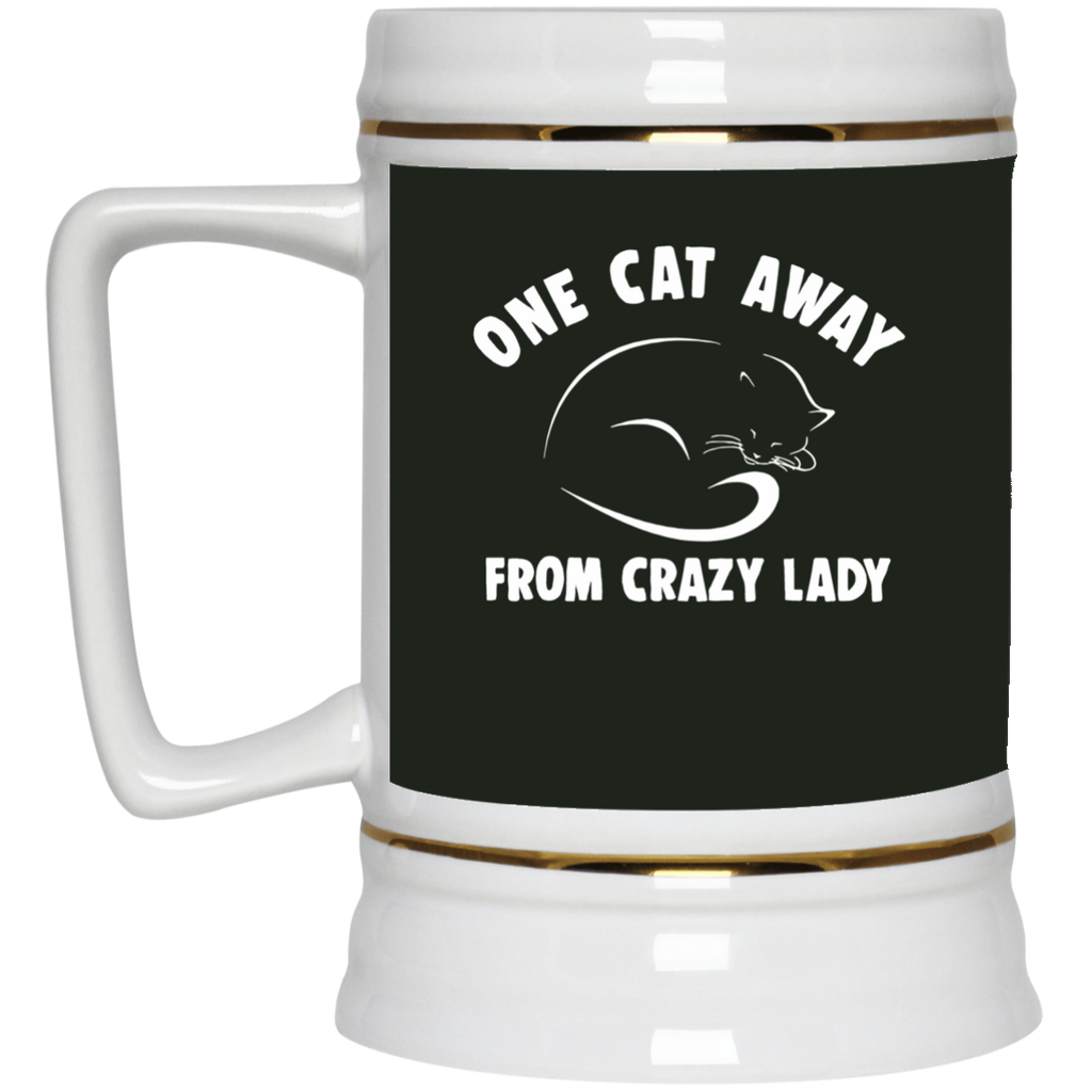 One Cat Away From Crazy Lady Cat Mugs