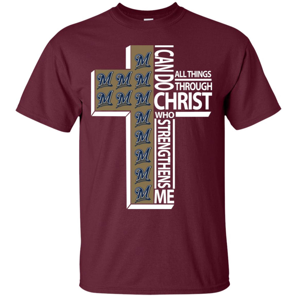 Gorgeous I Can Do All Things Through Christ Milwaukee Brewers T Shirts