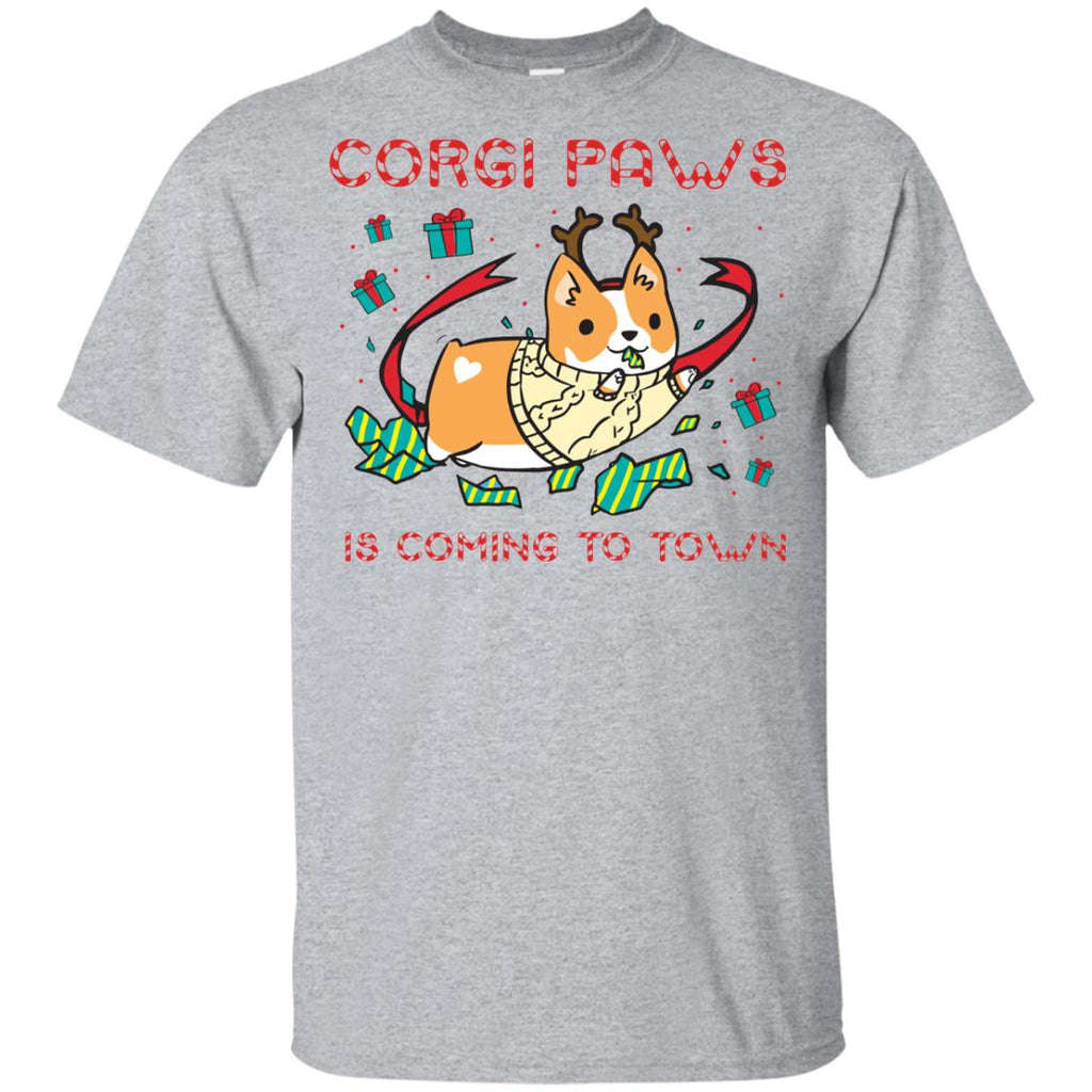 White Corgi Paws Is Coming To Town Shirt Cute Christmas Tee Shirt