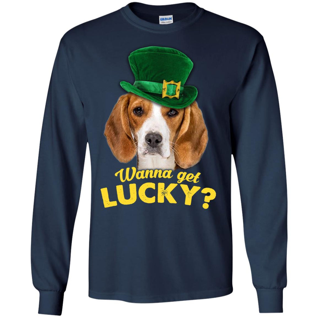 Funny Beagle Tee Shirt Wanna Get Lucky As St. Patrick's Day Gifts
