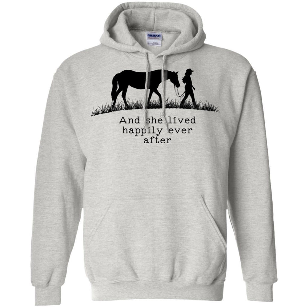 Horse And She Lived Happily Ever After Horse White Tee Shirt For Equestrian Girl