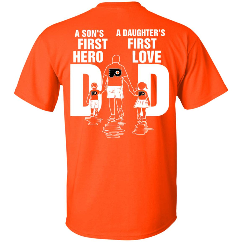 Son Is First Hero Daughter Is First Love Philadelphia Flyers Dad Tshirt