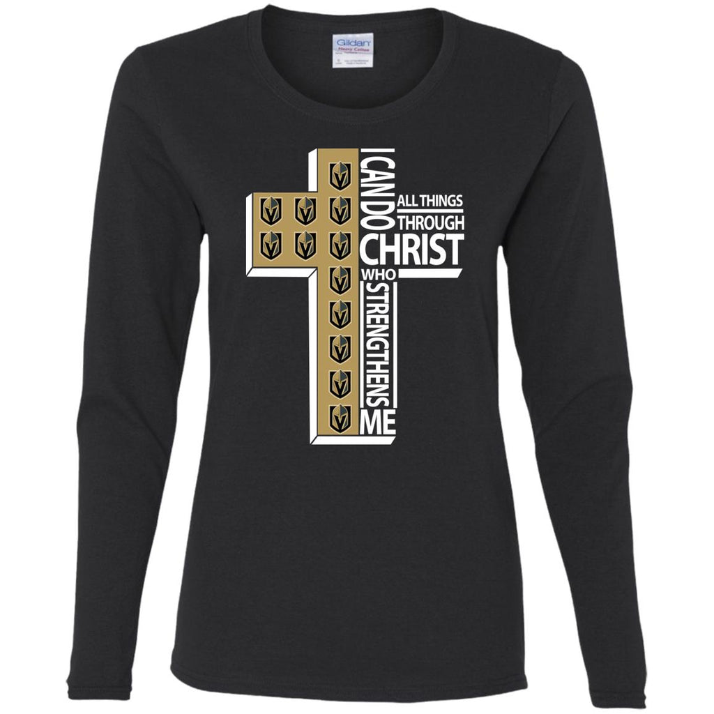 Gorgeous I Can Do All Things Through Christ Vegas Golden Knights T Shirts