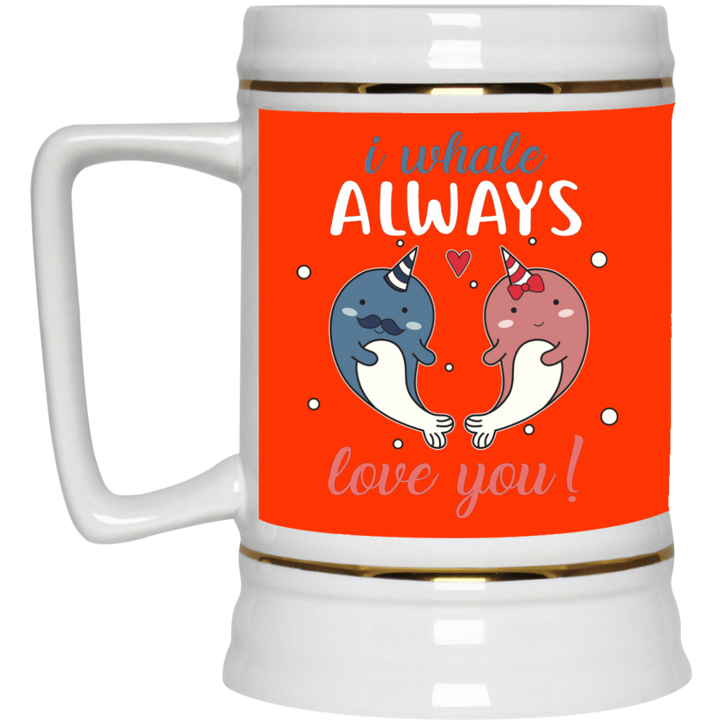 I Whale Always Love You Narwhal Couple Mugs