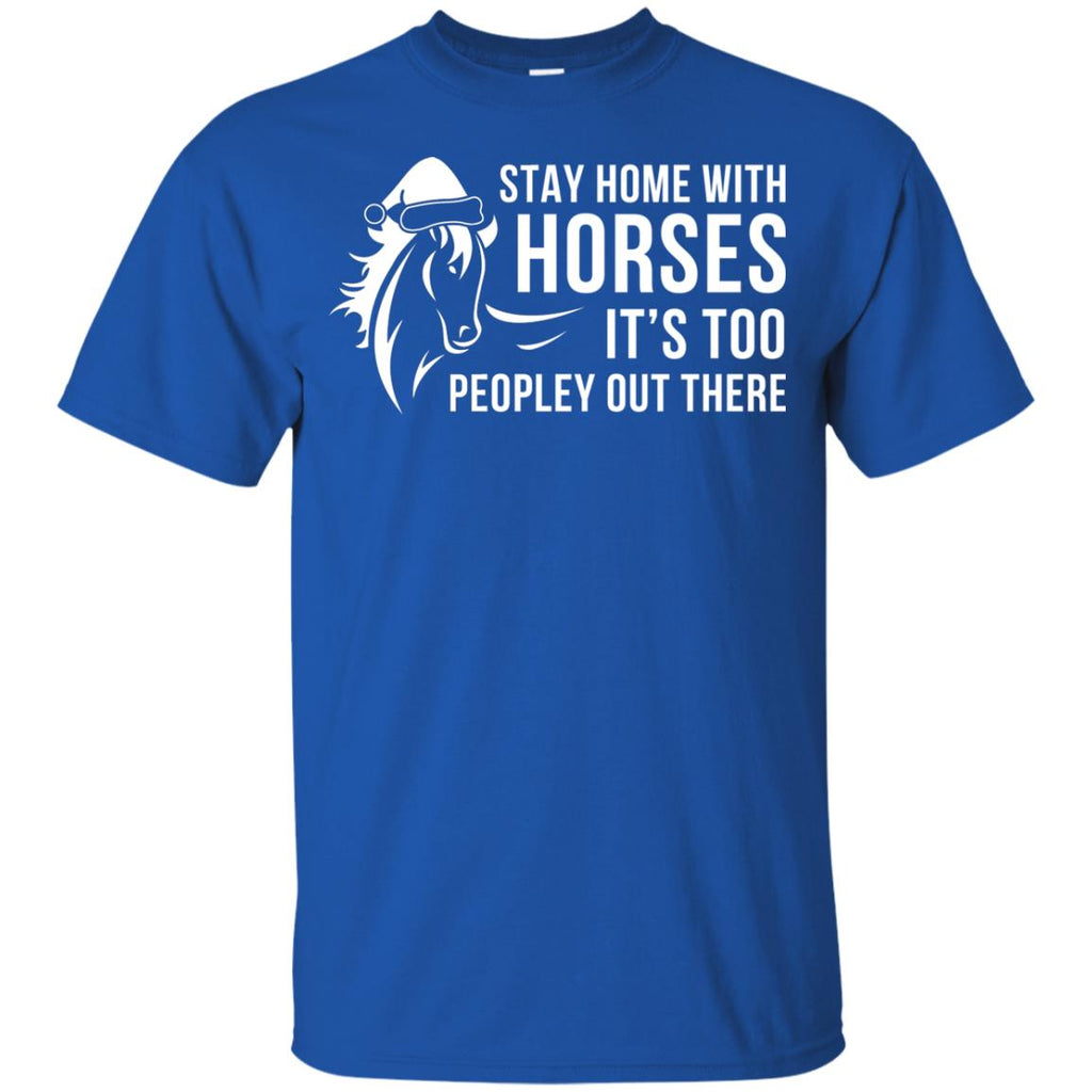 Stay Home With Horse Christmas Xmas Horse Tshirt For Equestrian Gift