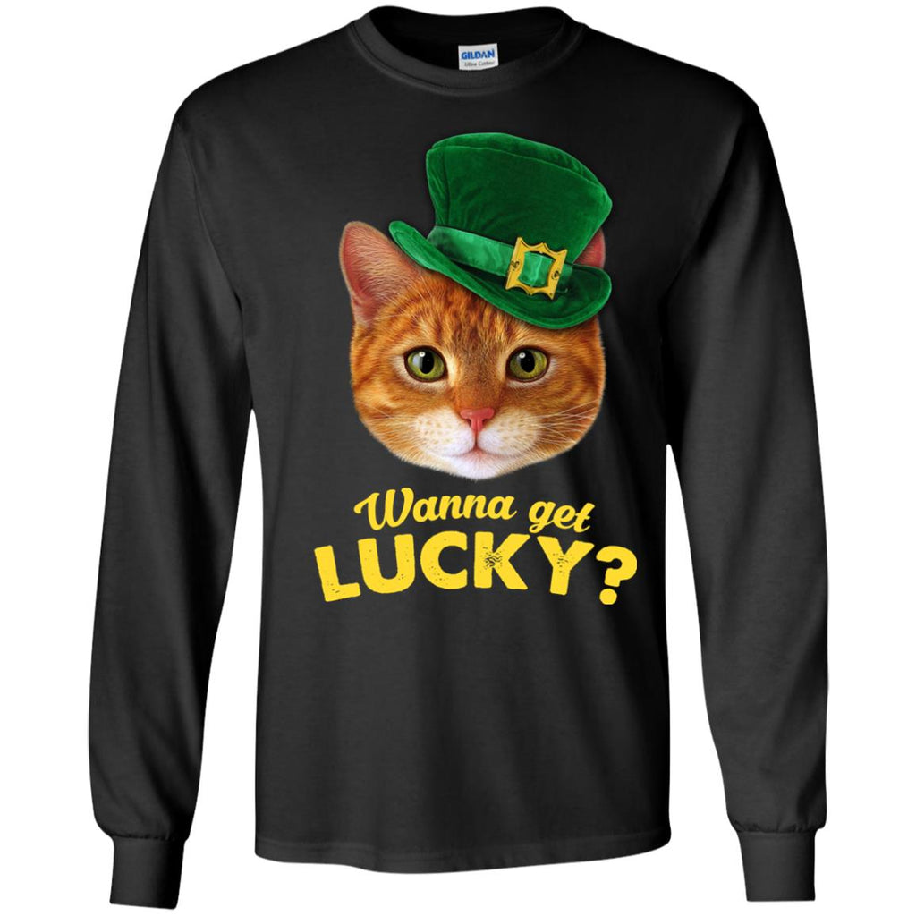 Funny Cat T Shirt Wanna Get Lucky For St. Patrick's Day Gift