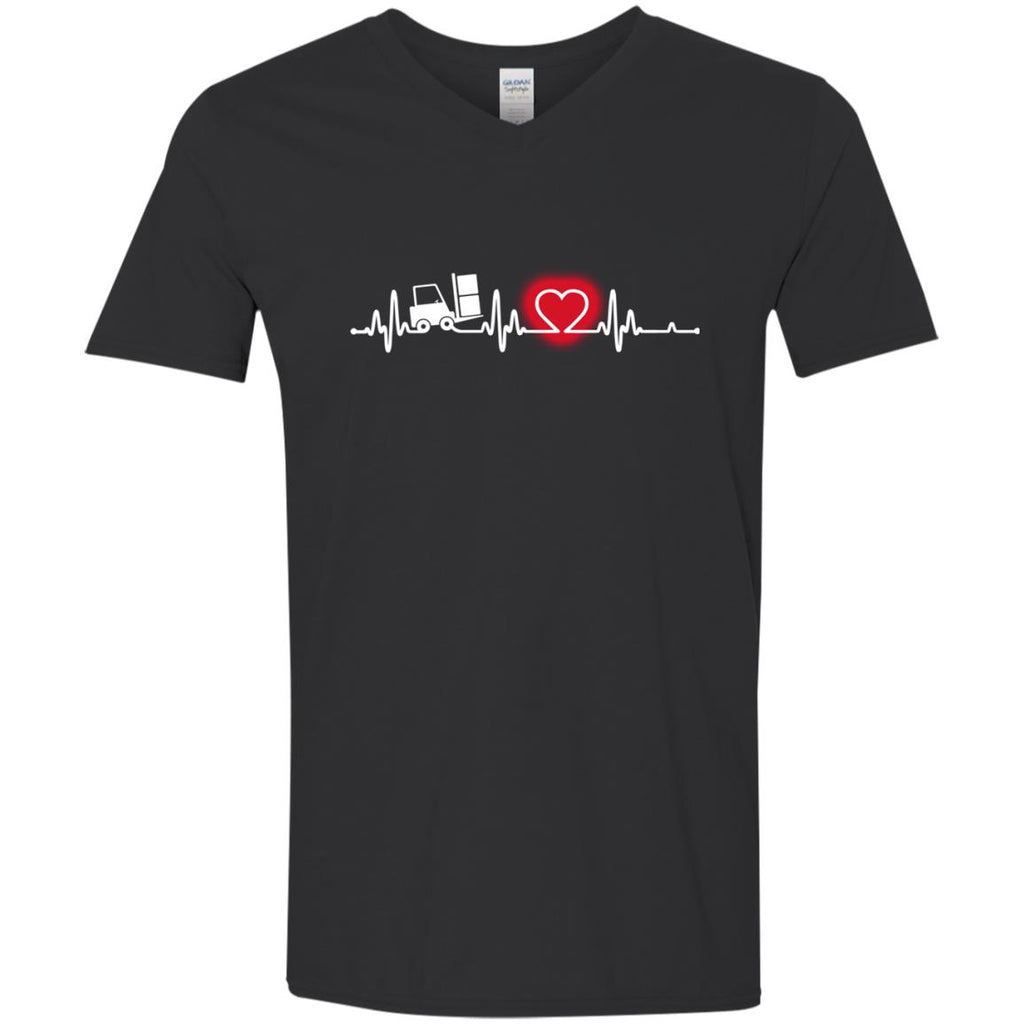Heart Beat Red Forklift Driver Tshirt for Lover