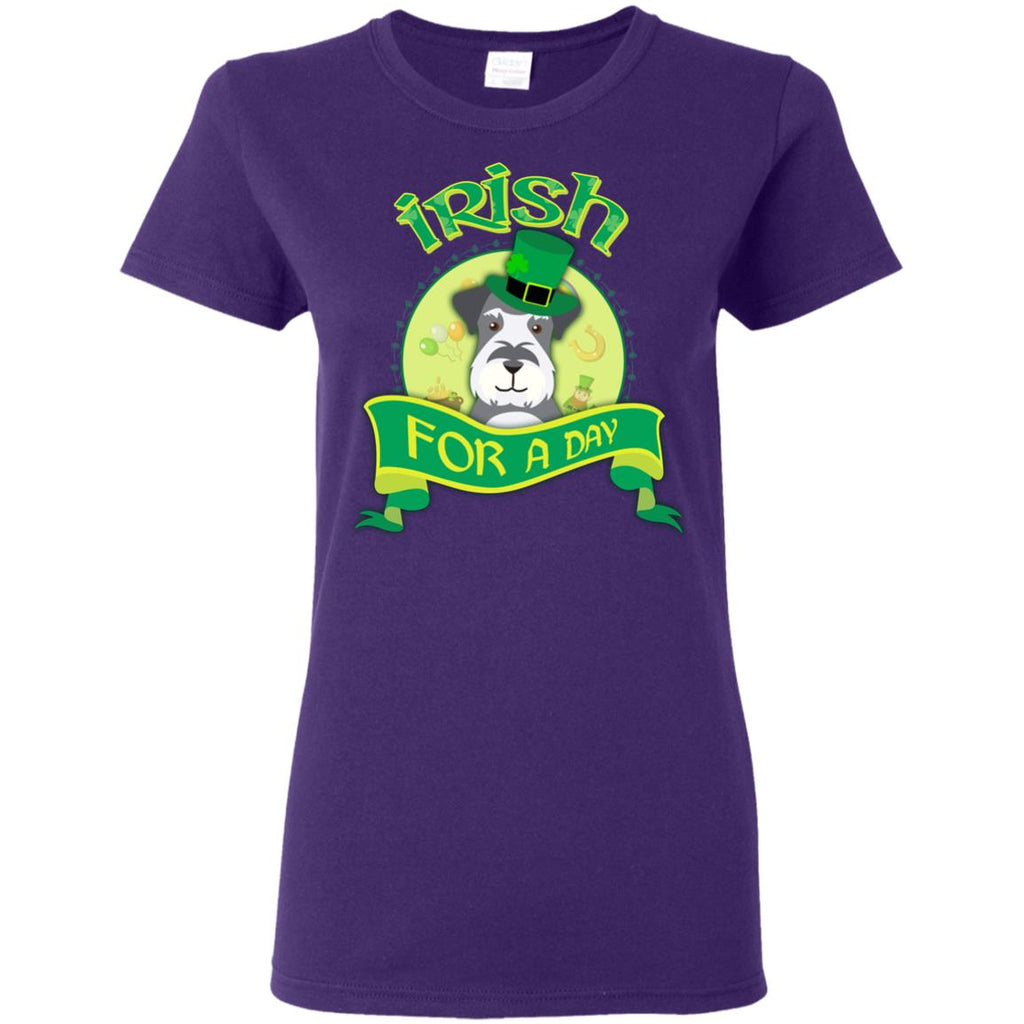 Funny Schnauzer Tshirt Irish For A Day Miniature terrier Dog Gift