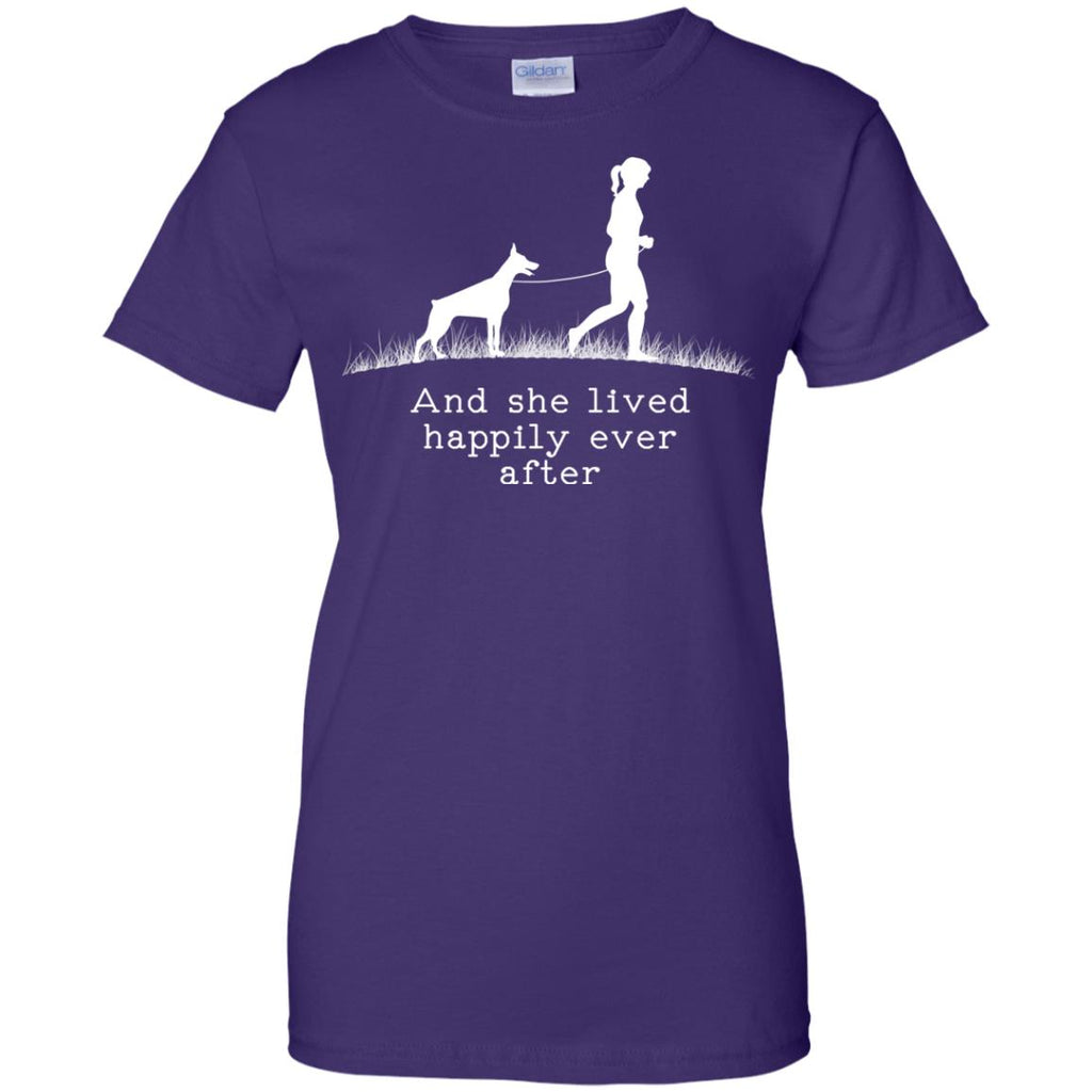 Doberman And She Lived Happily Dog Tshirt