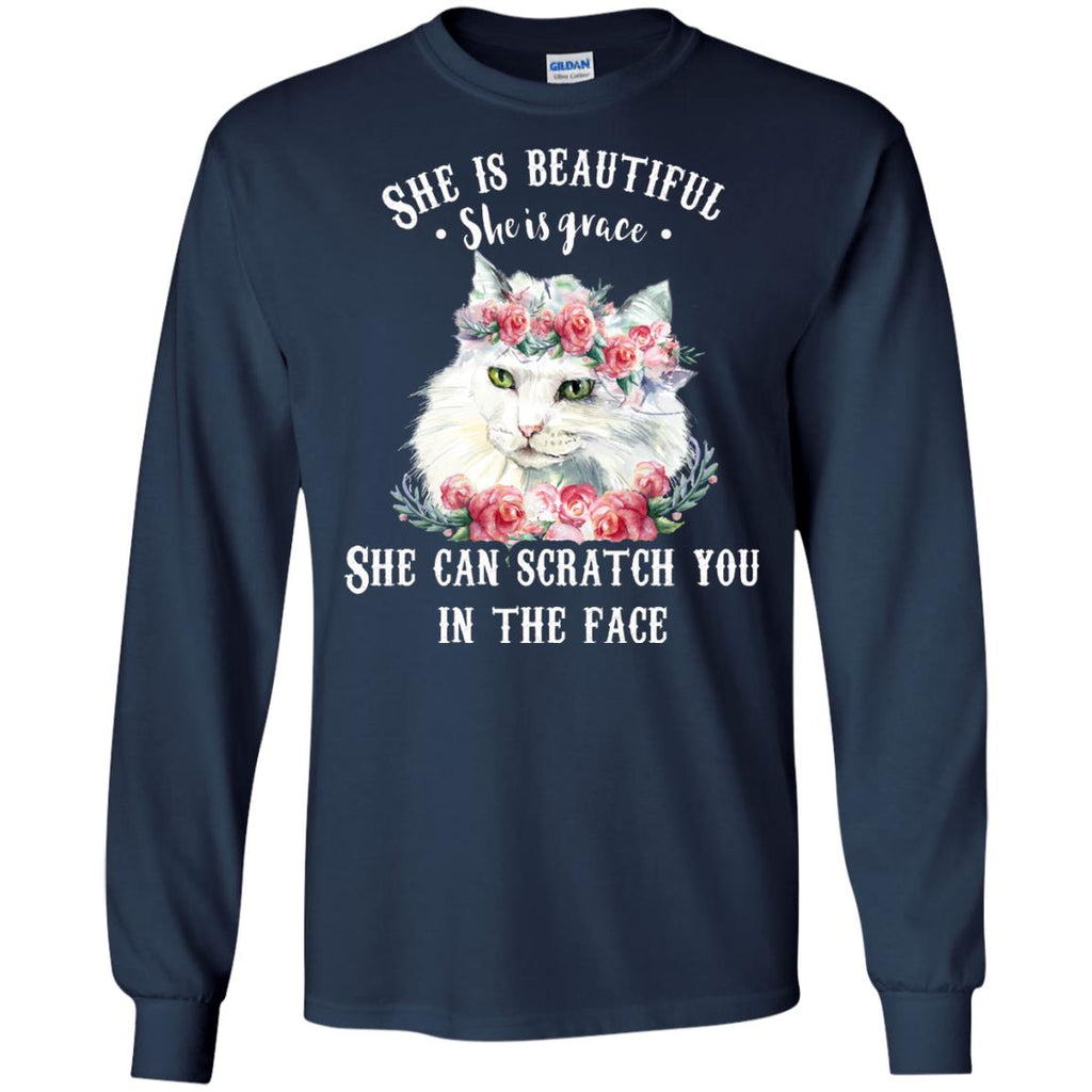 Funny Cat Tee Shirt - She can stab scratch you in the face is best kitten gift