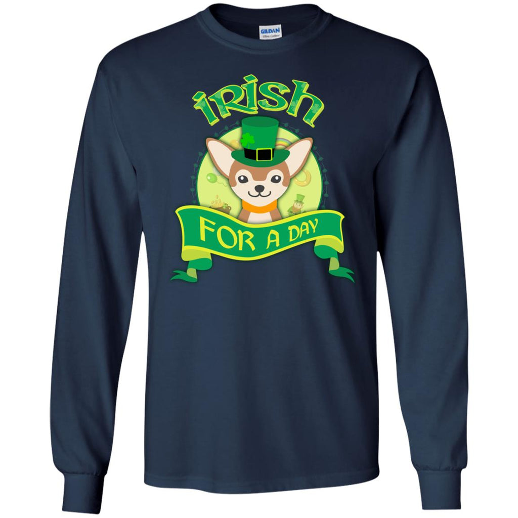Funny Chihuahua Dog Shirt Irish For A Day as St. Patrick's Day Gift