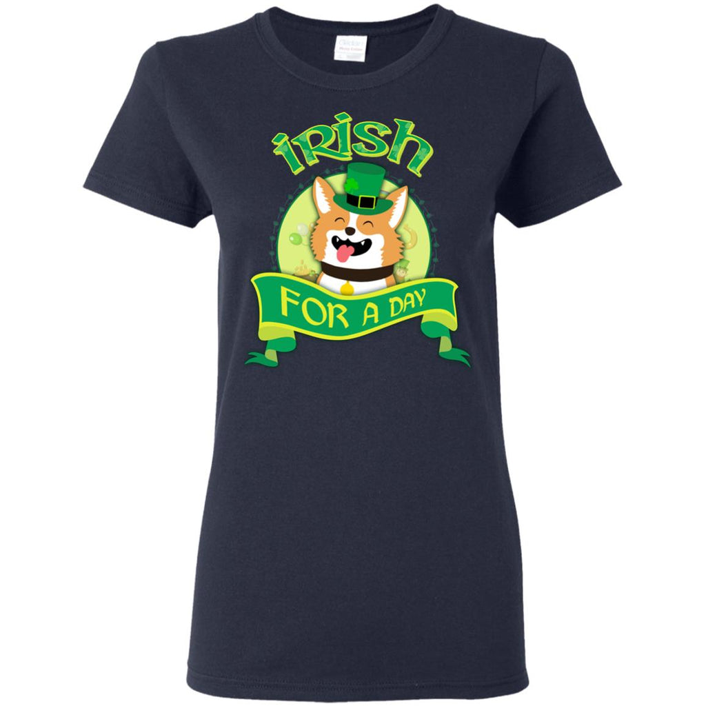 Funny Corgi Dog Shirt Irish For A Day As St. Patrick's Day Gift