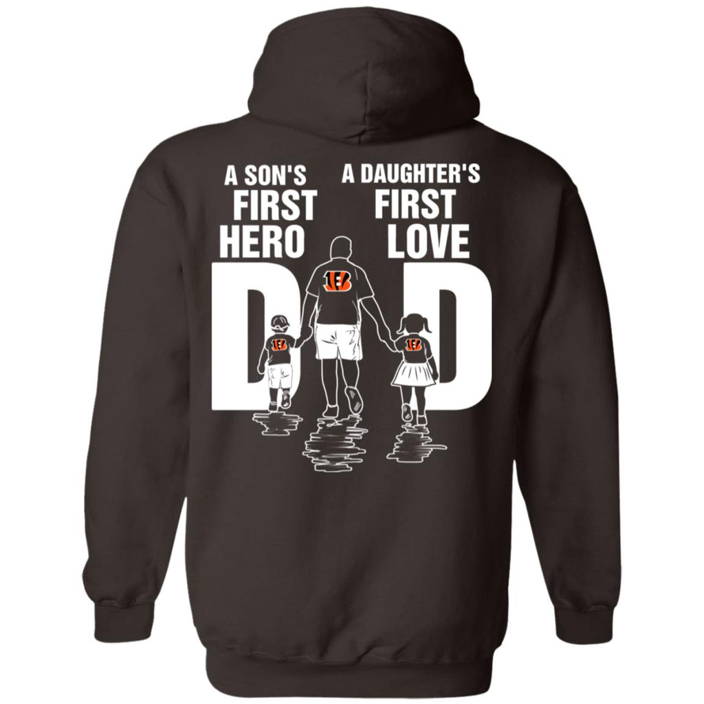 Son Is First Hero Daughter Is First Love Cincinnati Bengals Dad Tshirt