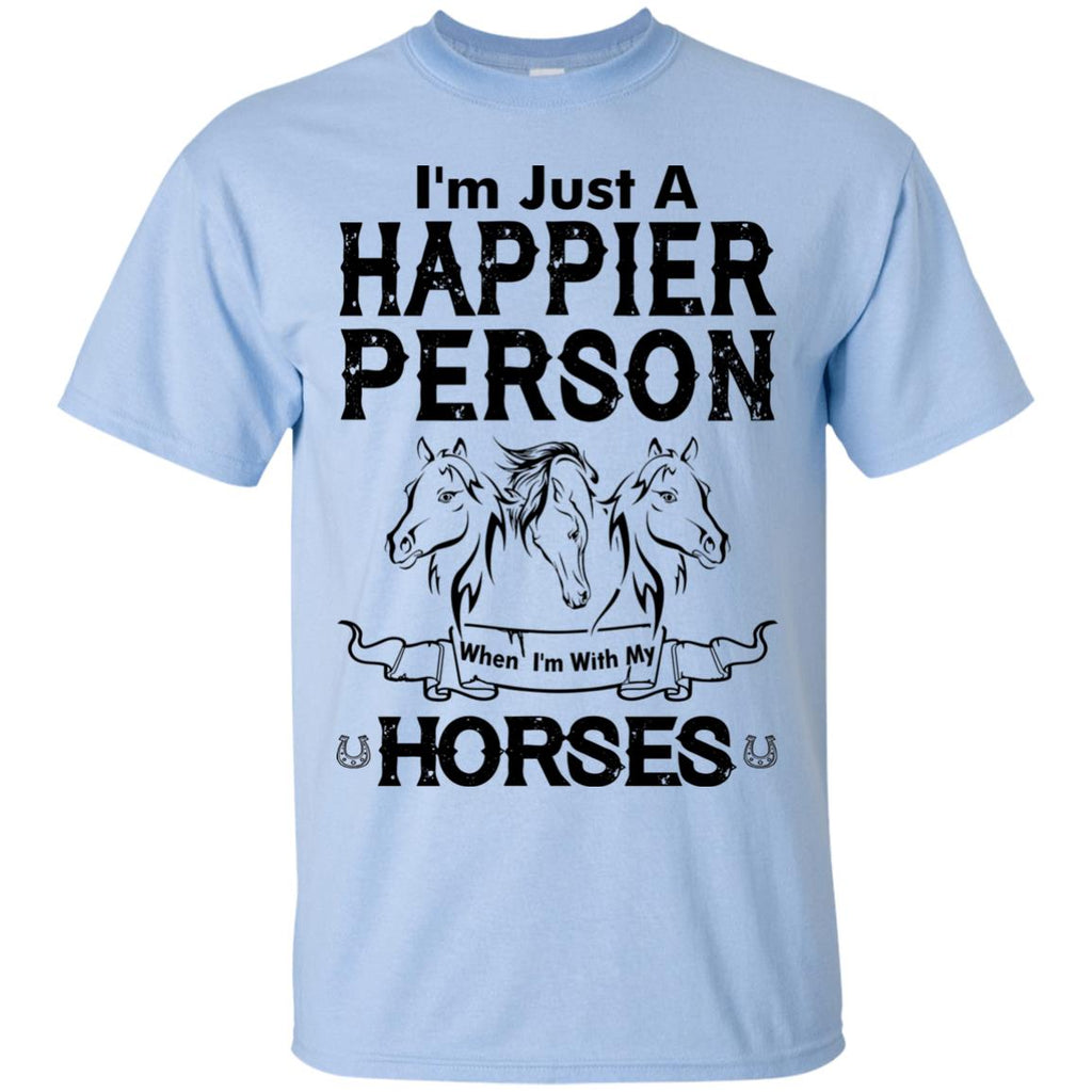 When I Am With My Horse White Tshirt For Equestrian Gift
