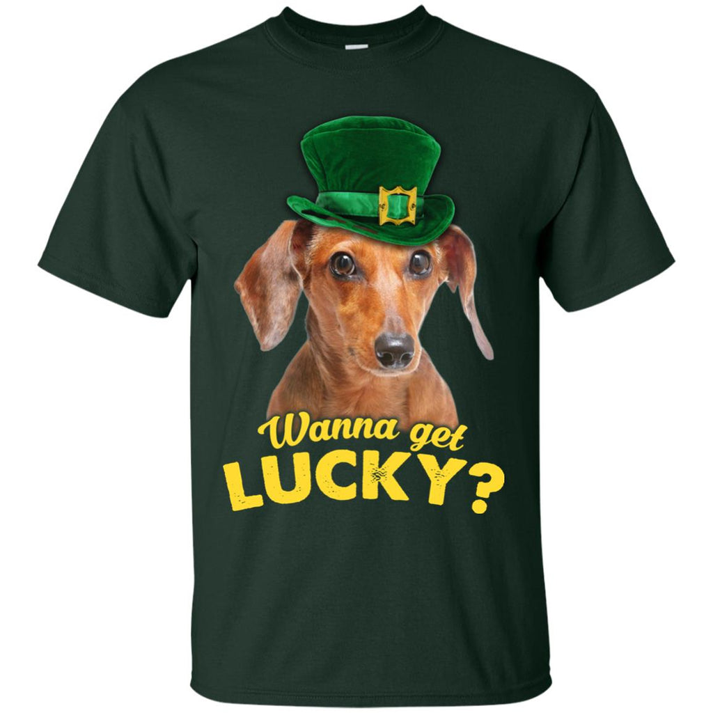 Funny Dachshund Tee Shirt Wanna Get Lucky Doxie Dog Gift