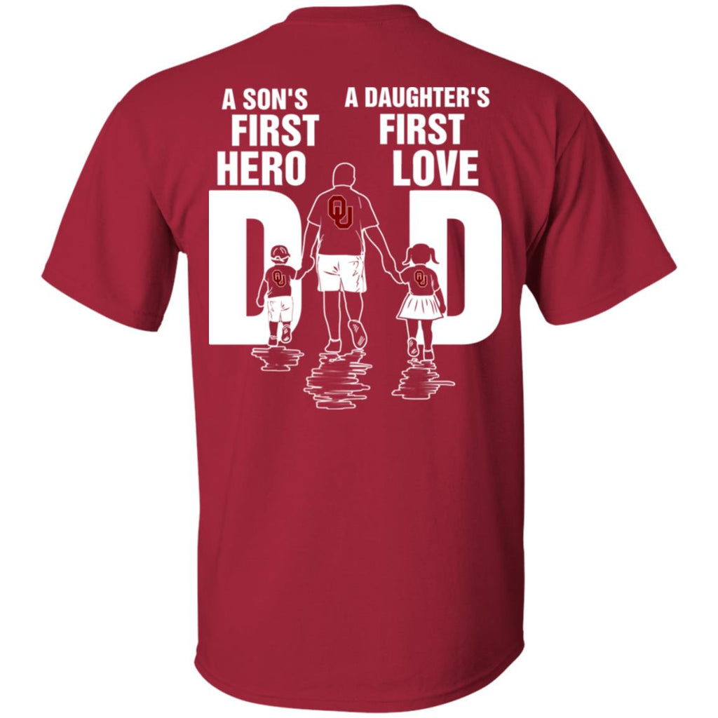 Son Is First Hero Daughter Is First Love Oklahoma Sooners Dad Tshirt