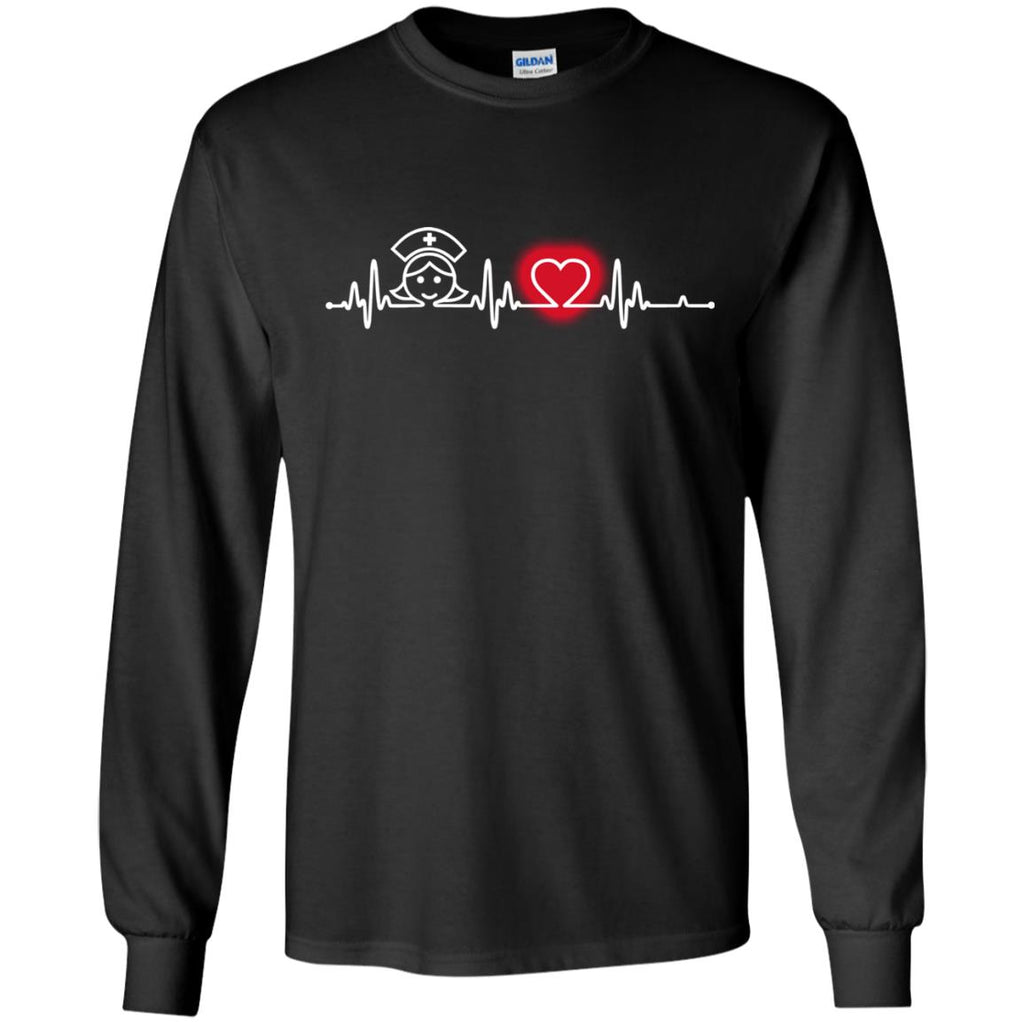 Heart Beat Red Critical Care Nurse Tshirt For Lover