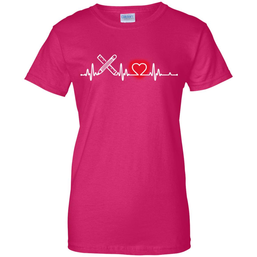Heart Beat Red Drafter Tshirt For Lover
