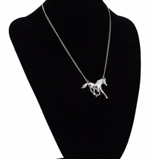 Gold Silver Alloy Tone Running Horse Short Necklaces