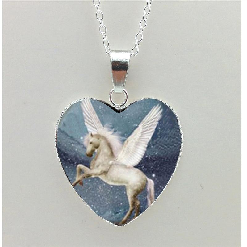 Horse In Fog Heart Running Horse Heart Flying Horse Silver Heart Shaped Necklaces