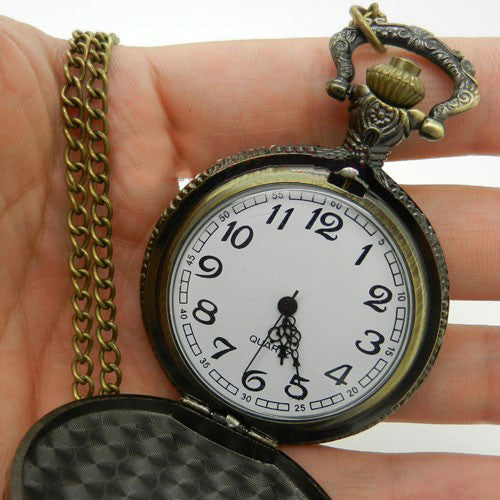 Bronze Three Horse Head Big Quartz Pocket Watch Necklaces