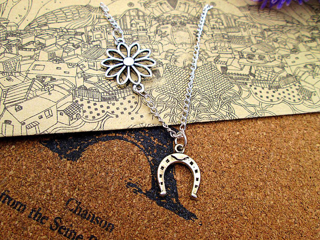 Filigree Flowers 2 Sided Horseshoe Necklaces