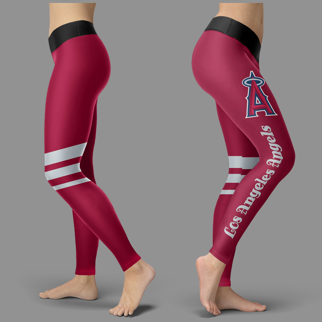 Through Logo Spread Body Striped Circle Los Angeles Angels Leggings