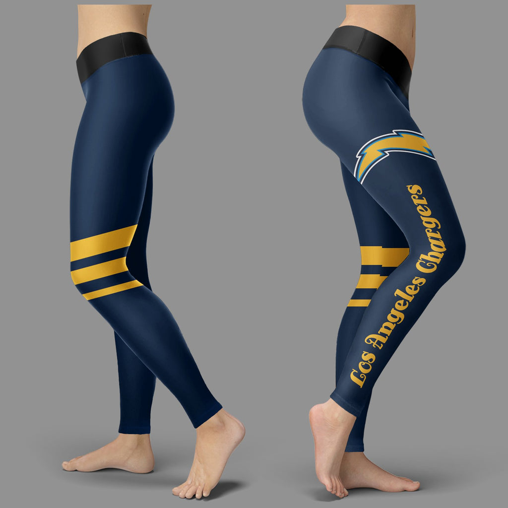 Through Logo Spread Body Striped Circle Los Angeles Chargers Leggings