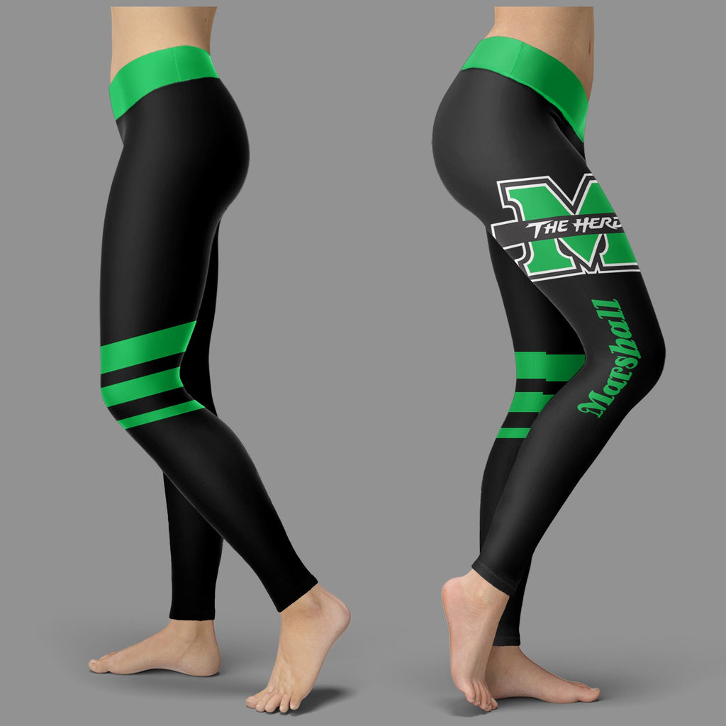 Through Logo Spread Body Striped Circle Marshall Thundering Herd Leggings