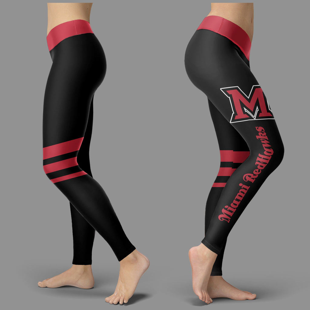Through Logo Spread Body Striped Circle Miami RedHawks Leggings