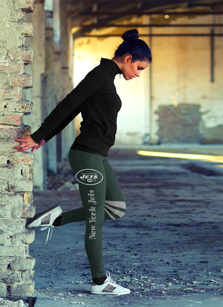 Through Logo Spread Body Striped Circle New York Jets Leggings