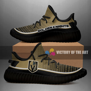 Words In Line Logo Vegas Golden Knights Yeezy Shoes