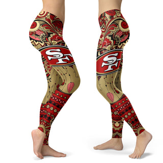 Boho San Francisco 49ers Leggings With Fantastic Art