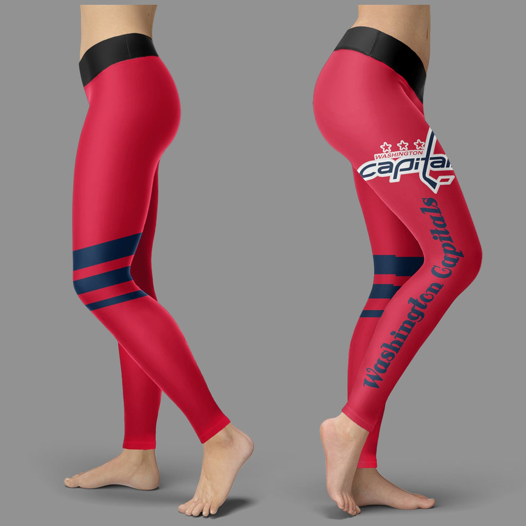 Through Logo Spread Body Striped Circle Washington Capitals Leggings