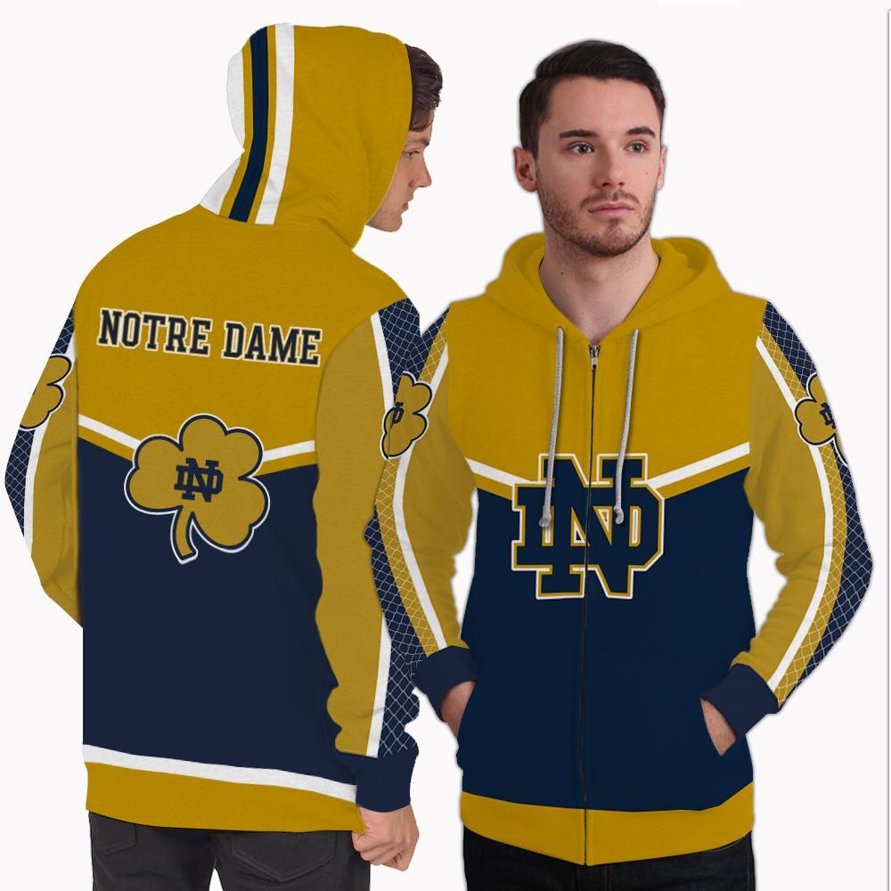 Strong Gorgeous Fitting Notre Dame Fighting Irish Zip Hoodie