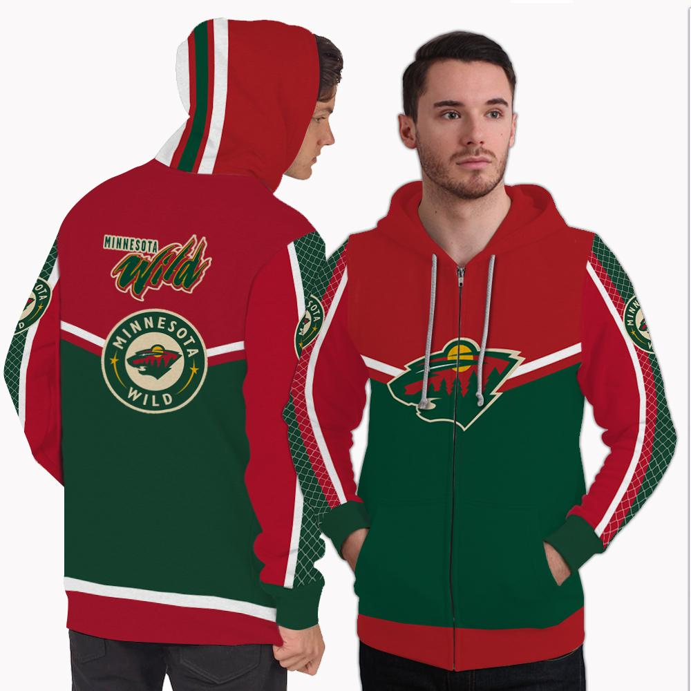 Strong Gorgeous Fitting Minnesota Wild Zip Hoodie