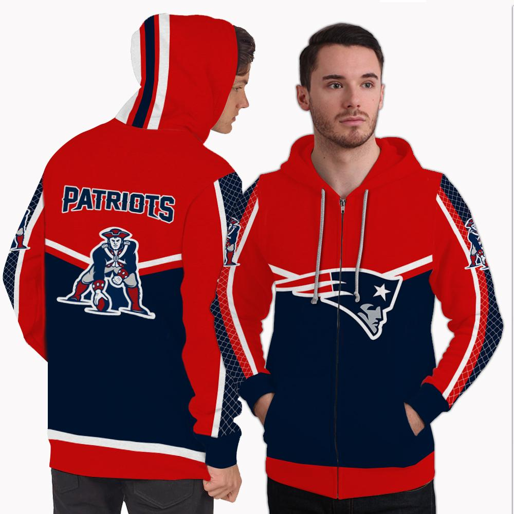 Strong Gorgeous Fitting New England Patriots Zip Hoodie