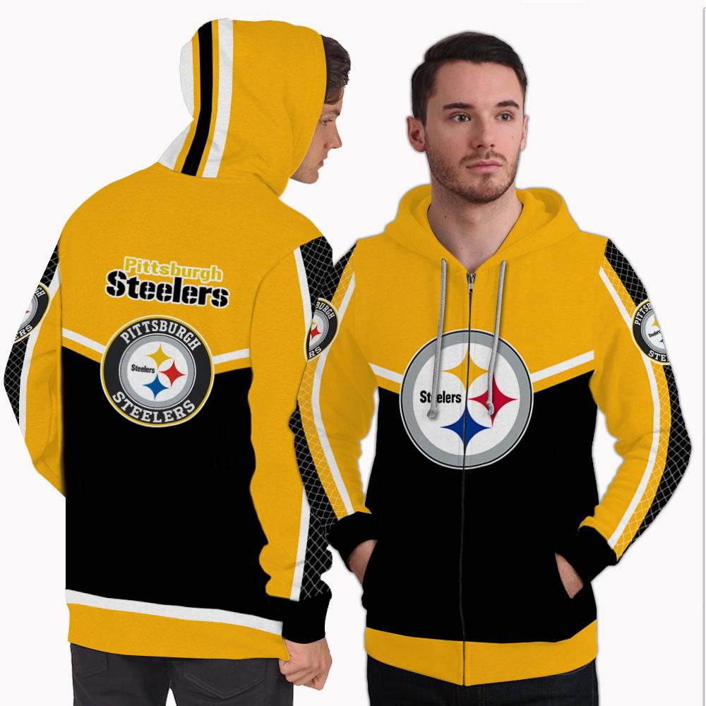 Strong Gorgeous Fitting Pittsburgh Steelers Zip Hoodie